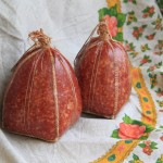Шитая фиброузная колбасная оболочка прозрачная Пирамидка, калибр 70